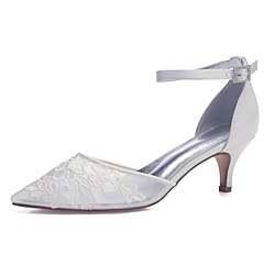 Women's Wedding Shoes Mesh Kitten Heel Pointed Toe Sweet Wedding Party Evening Walking Shoes Satin Mesh Sparkling Glitter Solid Colored Summer White Ivory Lightinthebox