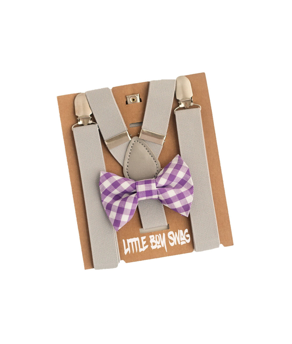 Lavender Gingham Bow Tie Light Grey Suspenders For Boy Rustic Cake Smash, Ring Bearer/Page Outfit, Toddler Wedding   Kids-Adult