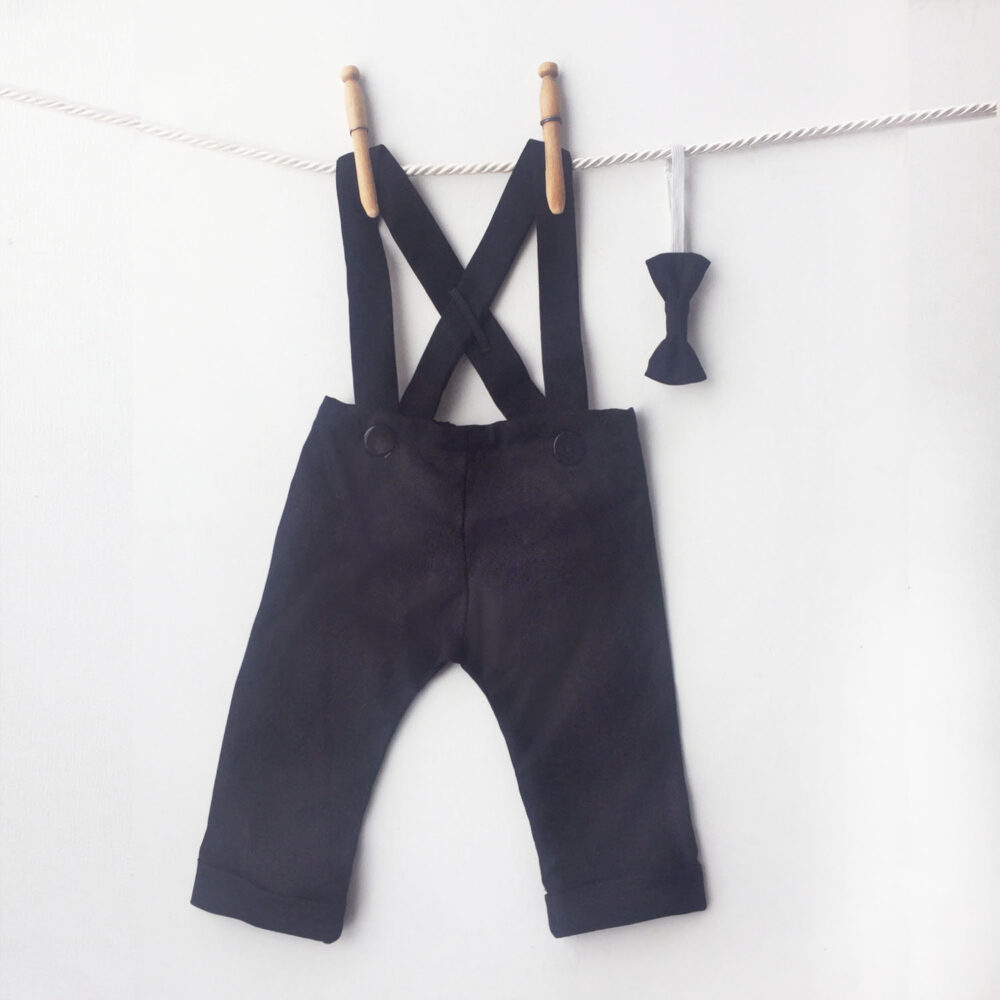 Black Linen Baby Tuxedo Pants, Boy Suspender Wedding Outfit, Formal Wear, Ring Bearer Suit