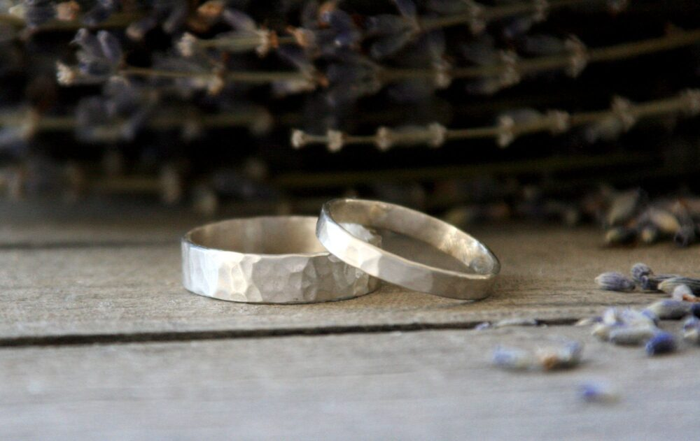 Silver Band Ring, Wedding Unisex Band, Organic Wedding Rustic Hammered