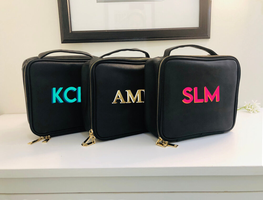Personalized Makeup Bag, Cosmetic Case, Toiletry Shadow Monogram Monogrammed Graduation Gift