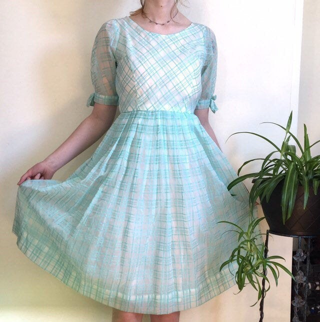 50S Sheer Party Dress/White & Blue-Green Turquoise Check Pattern Vintage Full Skirt Womens Size Small 26 Waist