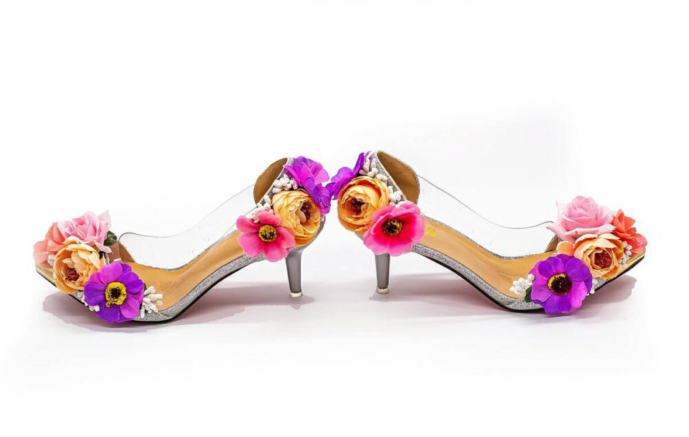 Whimsical Unique Fairytale Pink & Purple Yellow Gold Floral Bridal Wedding Prom Easter Shoes With Glitter Low Heel Matching Handbag