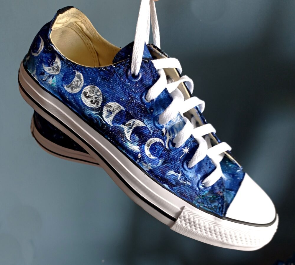 Custom Moon Phases Shoes, Galaxy Sneakers, Celestial Shoes, Star Converse