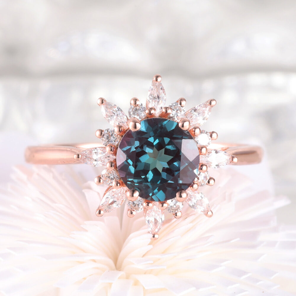 Alexandrite Engagement Ring, Moissanite Flower Ring, Unique Wedding Plain Rose Gold Band, Antique Women Jewelry, Anniversary Ring