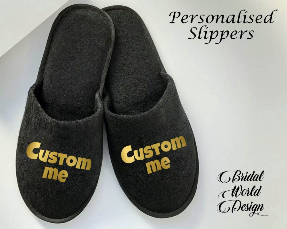 Customized Slippers House Wear Closed Toe Black Bride Bridesmaid Gift For Her Wedding