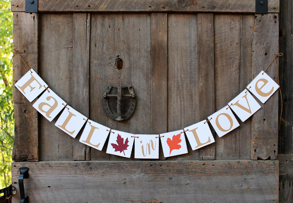 Fall Wedding Decor, Fall Engaged Signs, in Love, Autumn Leaves, Wedding Shower Decorations, Ideas