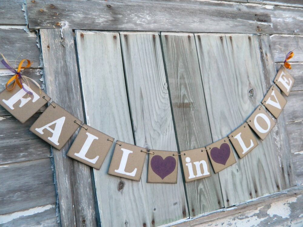 Fall in Love Banner, Barn Wedding Decorations, Rustic Bridal Shower Decor, Autumn Sign, Custom Colors