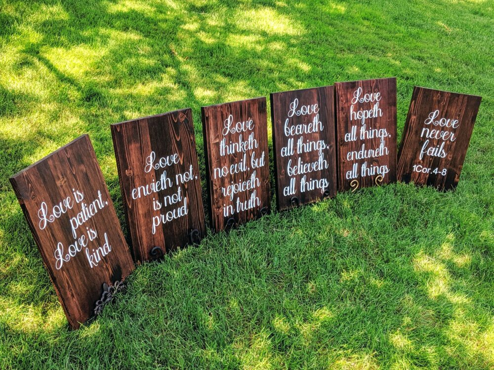 Wedding Aisle Signs/ 1 Corinthians 4-8/Wedding Decor/Wedding Bible Signs/Love Is Patient/Love Kind/Bible Scripture Sign/