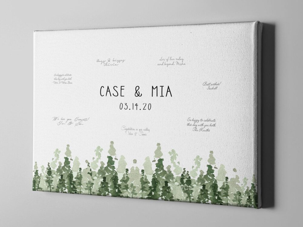 Sale 50% Off Canvas Guest Book, National Park Wedding Forest Resort Guestbook Alternative, Annviersary Gift For Parents - Cgb277