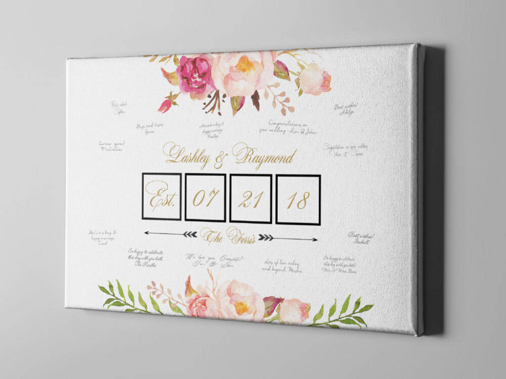 Sale 50% Off Canvas Guest Book, Gold Elegant Roses Wedding Finger Print Guestbook Alternative, Bridal Shower Gift Ideas - Cgb119