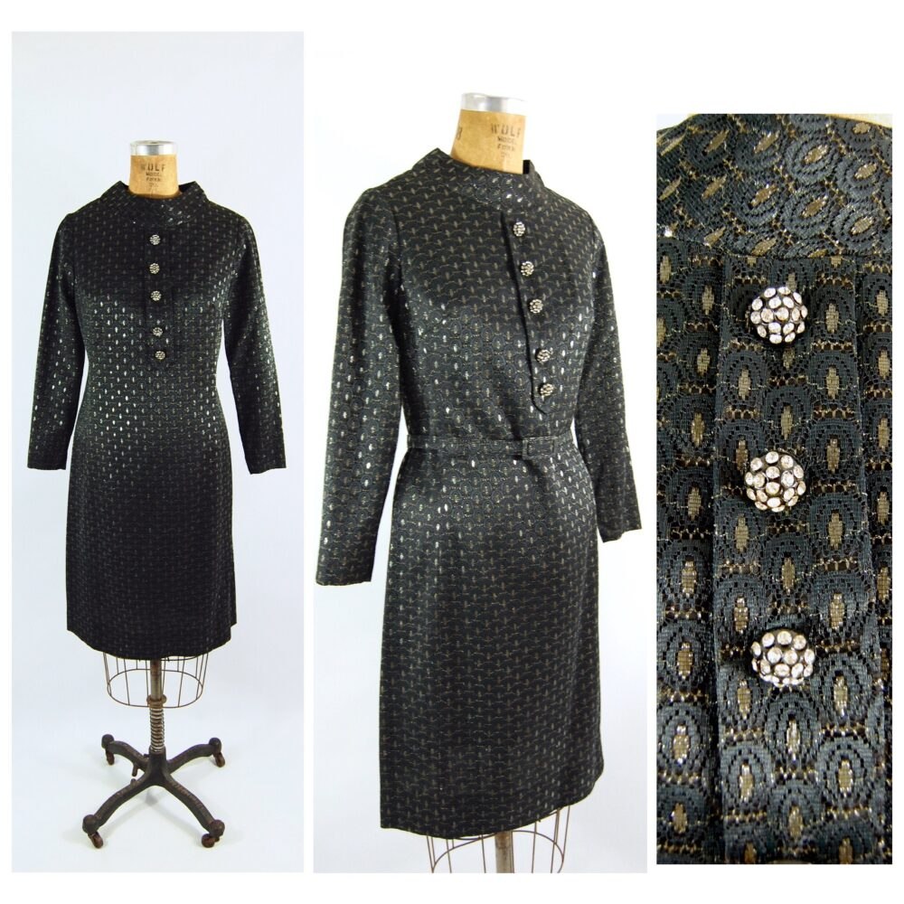 Mid 60S Black Lace & Silver Metallic Shift Cocktail Dress/34 - 36 Bust Jack Mann A-Line Short Formal Holiday Party Winter Sophisticate