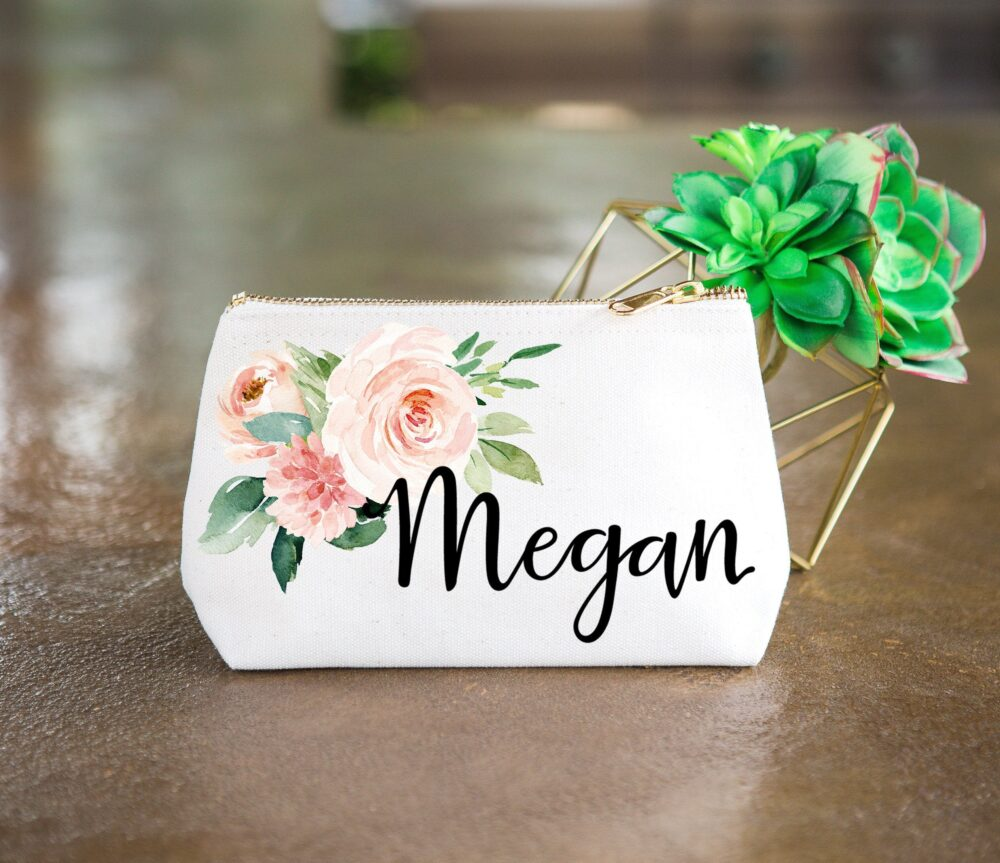 Bridesmaid Gift Makeup Bags With Name For Bridesmaids Canvas Pouch Floral Embellished Wedding Bridal Party Bag | Item - cmf359