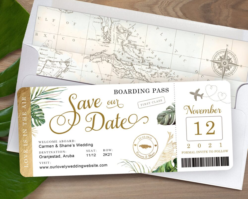 Destination Wedding Boarding Pass Save The Date Invitation Tropical Green Leaves & Gold With Airplane By Luckyladypaper
