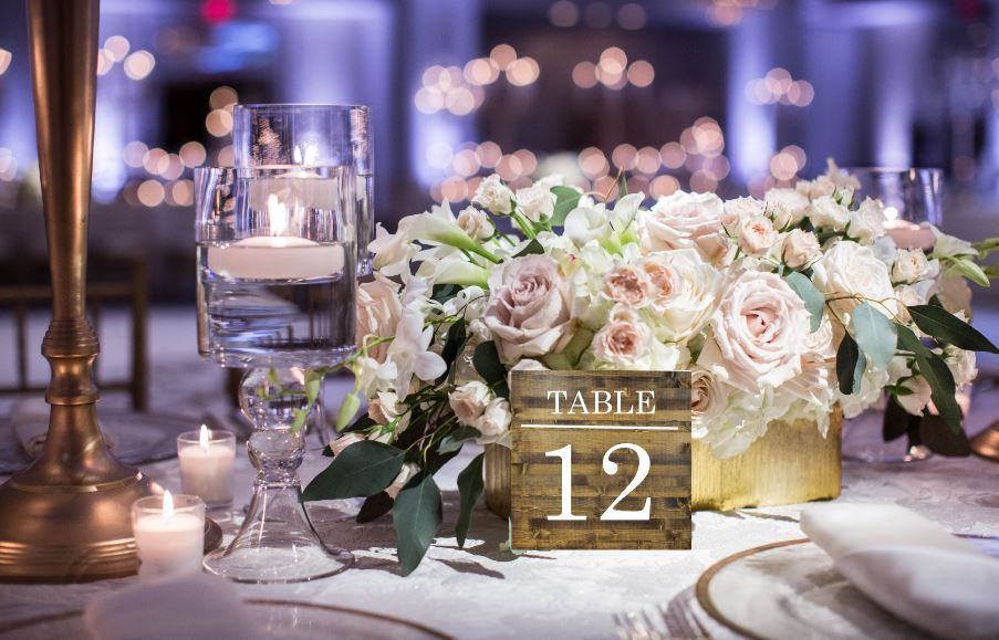 Table Number Sets - Framed Numbers Photo Burlap Wooden Seating