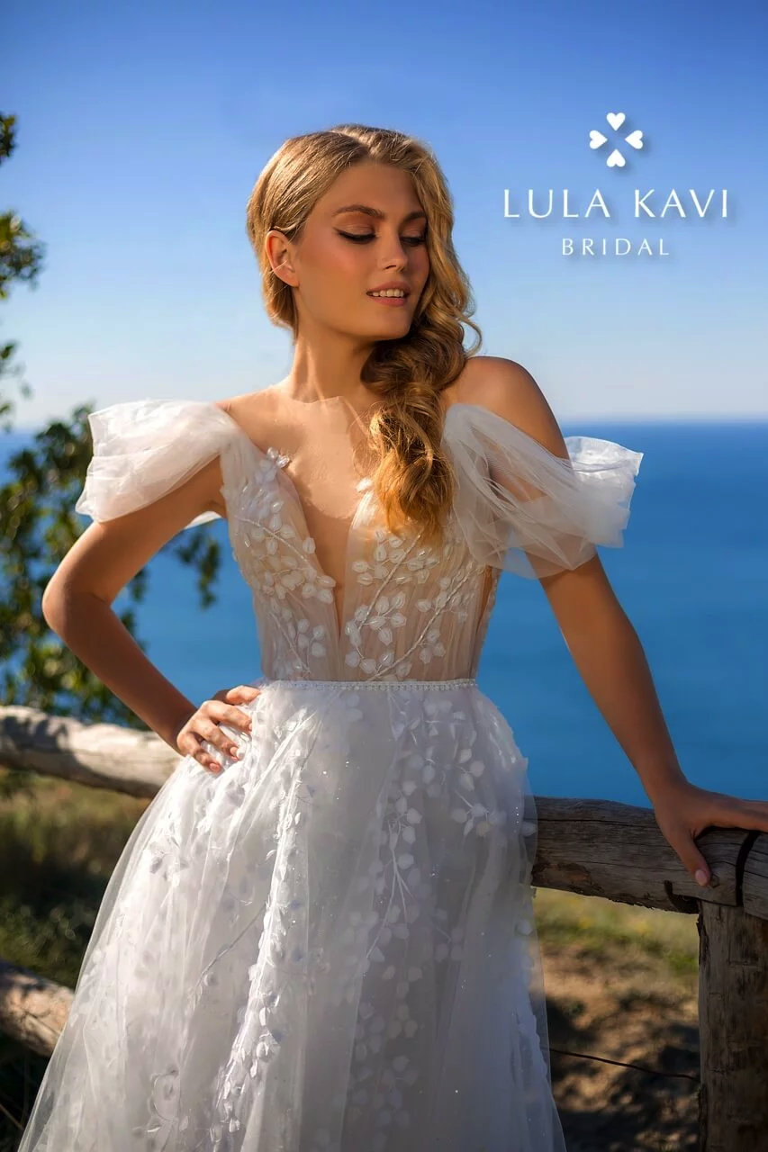 Boho Bohemian, Off The Shoulder, Deep V Neck, Illusion Backless, Lace A Line, Chic, Modern Wedding Dress, Hermi Gown