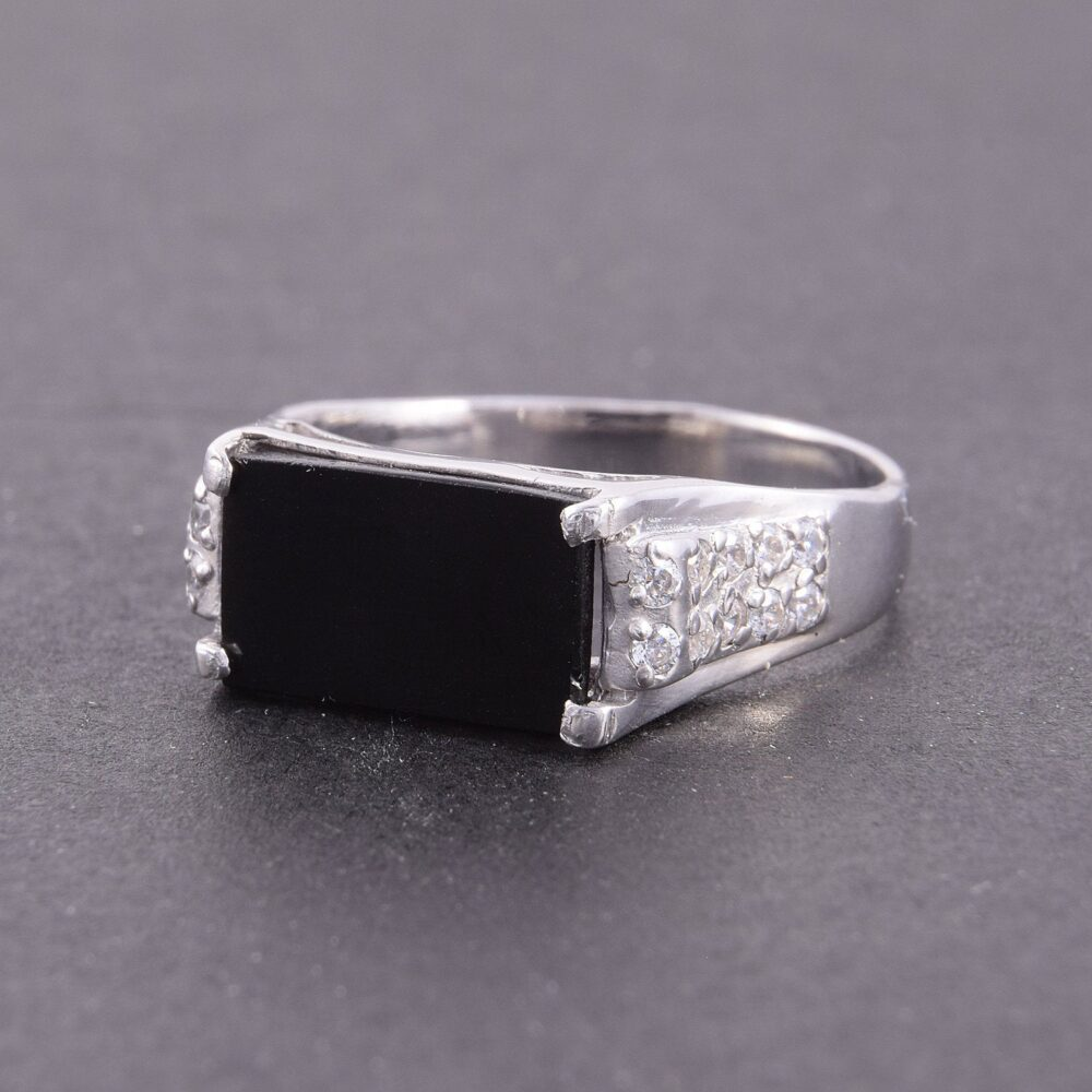 Onyx Ring, Black Stone Men Ring Silver, Handsome Square Men, Onyx Signet Silver Signet