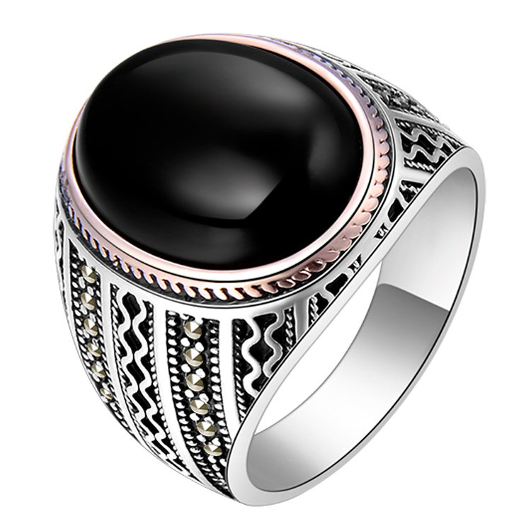 Natural Black Onyx Ring For Men in Solid 925 Sterling Silver Gents Ring, Handmade Vintage Style Jewelry, Personalized Wedding Gift