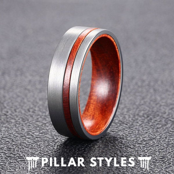 Wood Wedding Band Mens Ring - Wooden Unique Tungsten Bands Women Silver