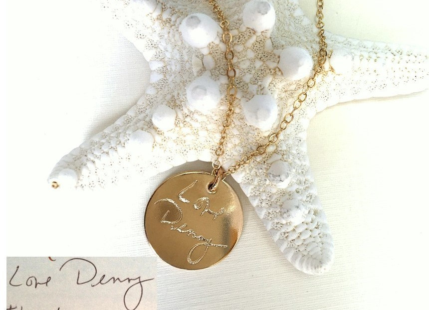 Handwriting Jewelry/Custom Necklace - Personalized Disc Signature Necklace Round Pendant Actual Handwriting