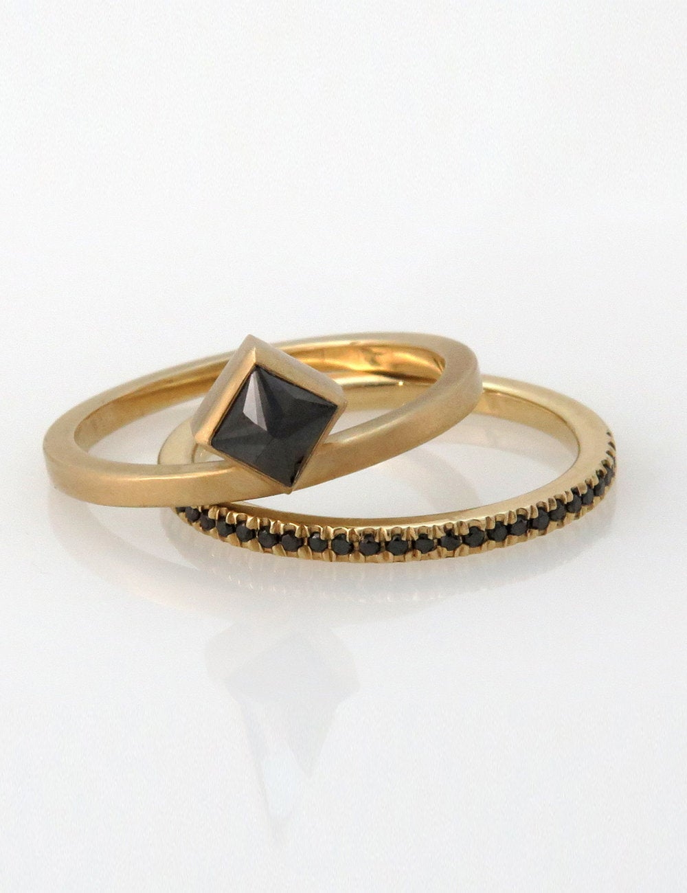 Black Diamond Engagement Ring Set, Princess Cut Boho Black Eternity Band, Minimalist Modern Set