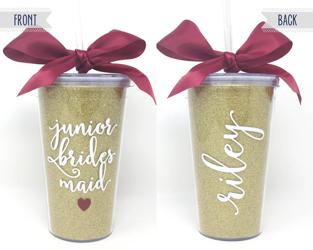 Junior Bridesmaid Tumbler 16Oz Glitter Cup Personalized Jr Gift Will You Be My Proposal Wedding Thank Favor
