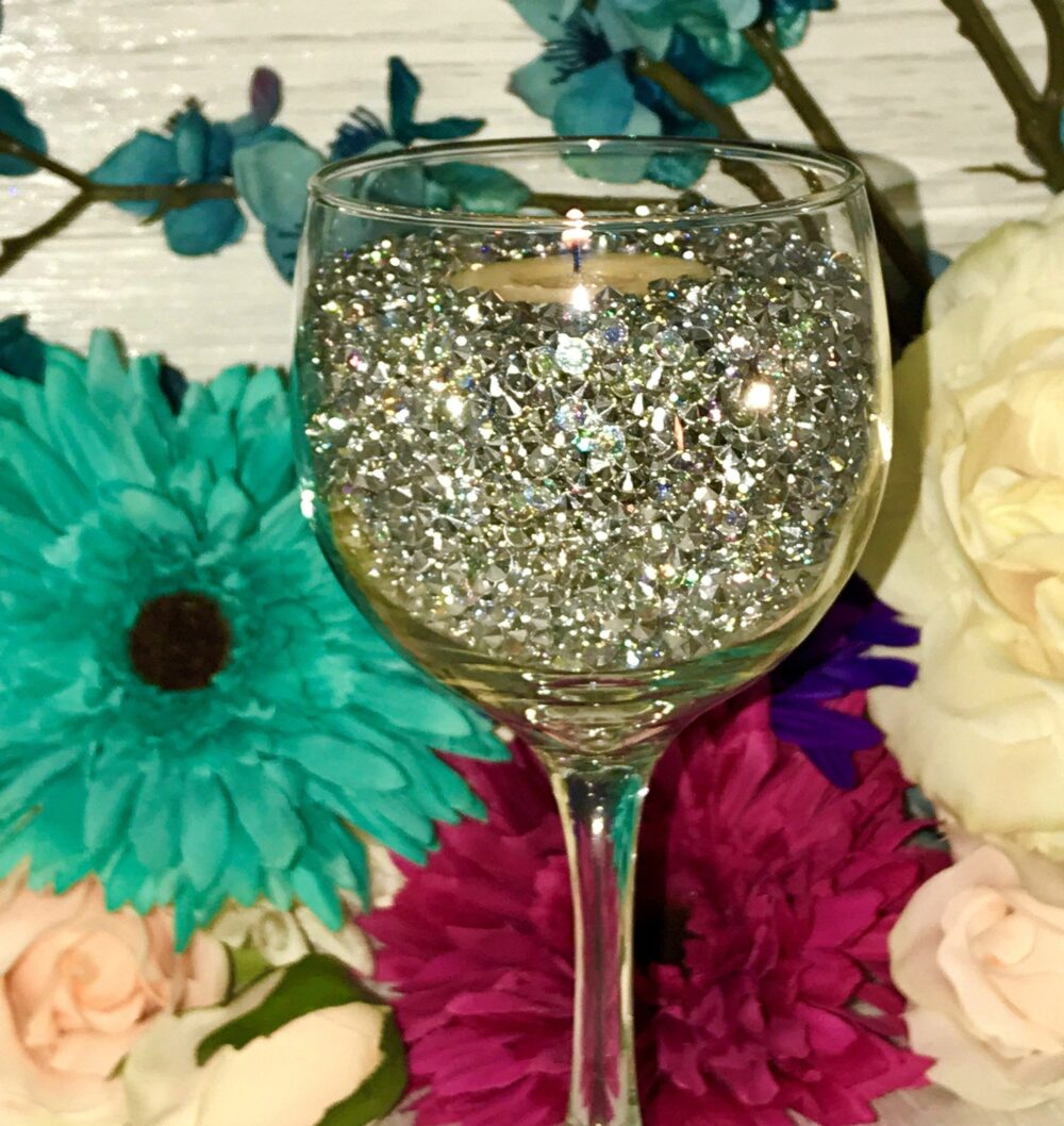 Iridescent Tiny Diamond Table Scatter, Vase Filler For Wedding & Events, Rhinestone Crystals Bling Glam Confetti Party Decoration