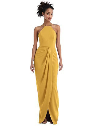 Special Order Halter Draped Tulip Skirt Maxi Dress