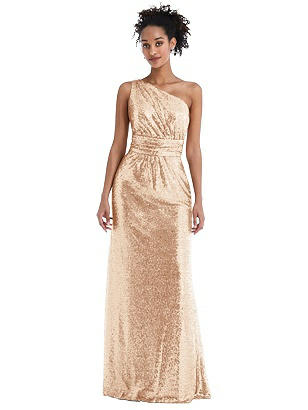 Special Order One-Shoulder Draped Sequin Maxi Dress