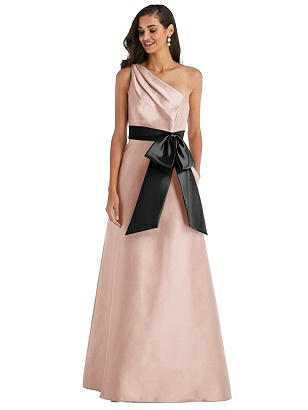 Special Order One-Shoulder Bow-Waist Maxi Dress with Pockets