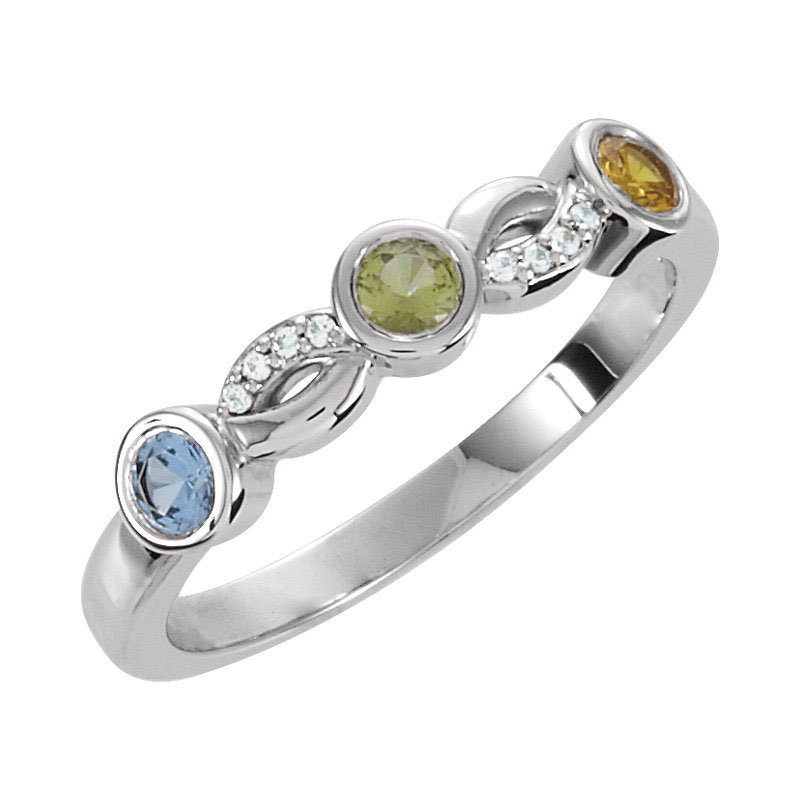Family Birthstone Ring 3, 4 Or 5 Stones Sterling Silver Personalized Mother's Jewelry
