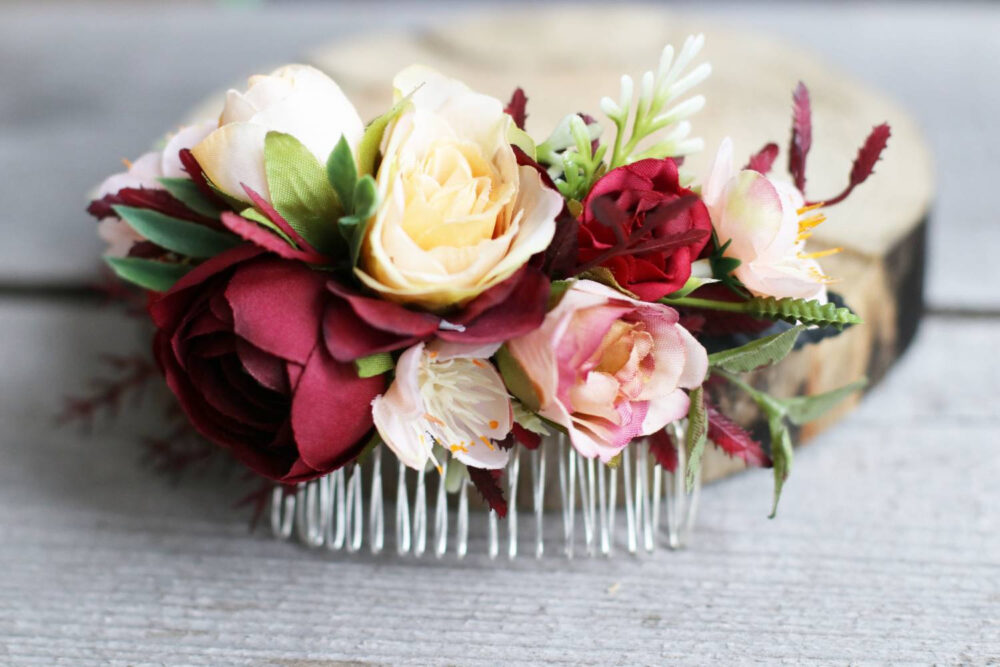 Burgundy Wedding Flower Hair Comb Flower Clip Boho Headpiece Floral Bridal Wedding Piece