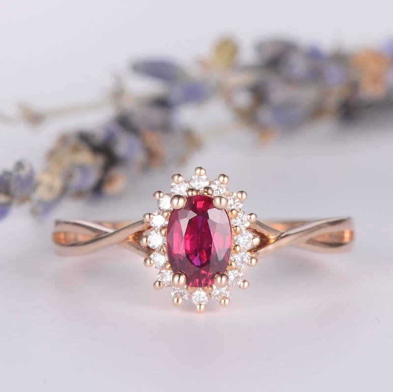 Ruby Engagement Ring Rose Gold Diamond Halo Bridal Wedding Infinity Band Cross Oval Cut Flower Antique Women Birthstone Gift Promise