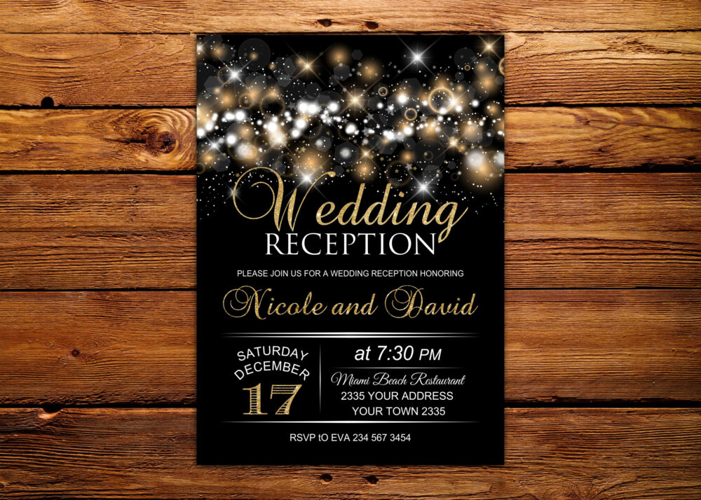 Wedding Reception Invitation. Glam Invite. Gold Glitter Chalkboard Invite. Black & Gold. Glitter