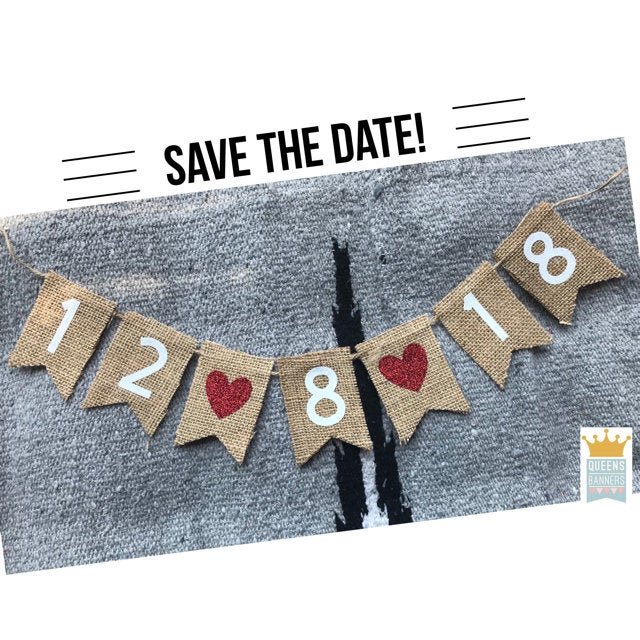 Save The Date Banner, Wreath Wedding Birthday Love Burlap Anniversary Bridal Banner