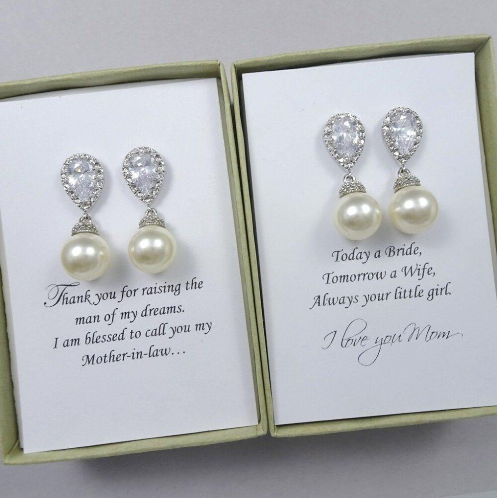 Mother Of The Bride Gift Earrings, Groom For Mom, Stepmother, Swarovski Pearl Wedding Earrings