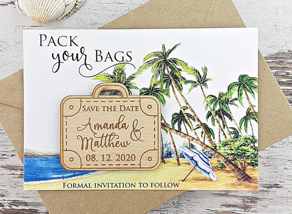 Save The Date Magnet, Wood Suitcase Beach The Date, Pack Your Bag Save Date, Wedding Custom Date