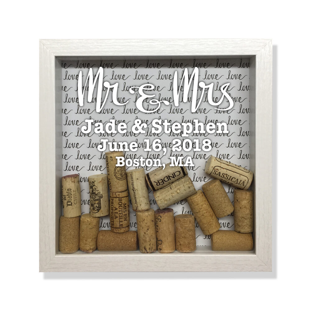 Wedding Wine Cork Shadow Box, Engagement Party, Bridal Shower Gift, Keeper, Gift For Couple, Holder, Gay