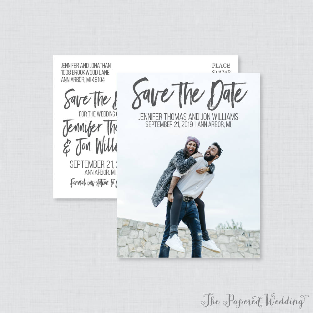 Printable Or Printed Photo Save The Date Postcards - Casual Our For Wedding Gray Picture Dates 103