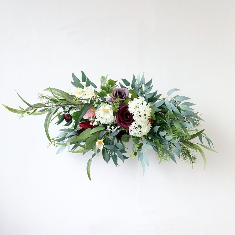 Burgundy & White Rose With Eucalyptus Swag For Front Door/Wedding Arch/Arbor/Archway/Wall Decor, Silk Flower Swag, Wedding Hanging Flowers