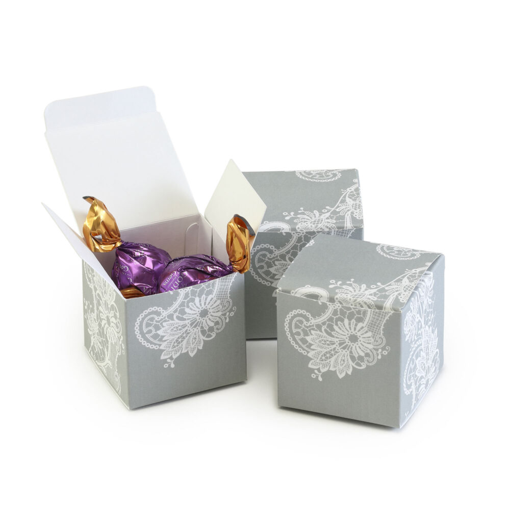 Gray Lace Favor Boxes - Set Of 25 Wedding Bridal Tea Shower Birthday Baby Candy Holders Mw21909