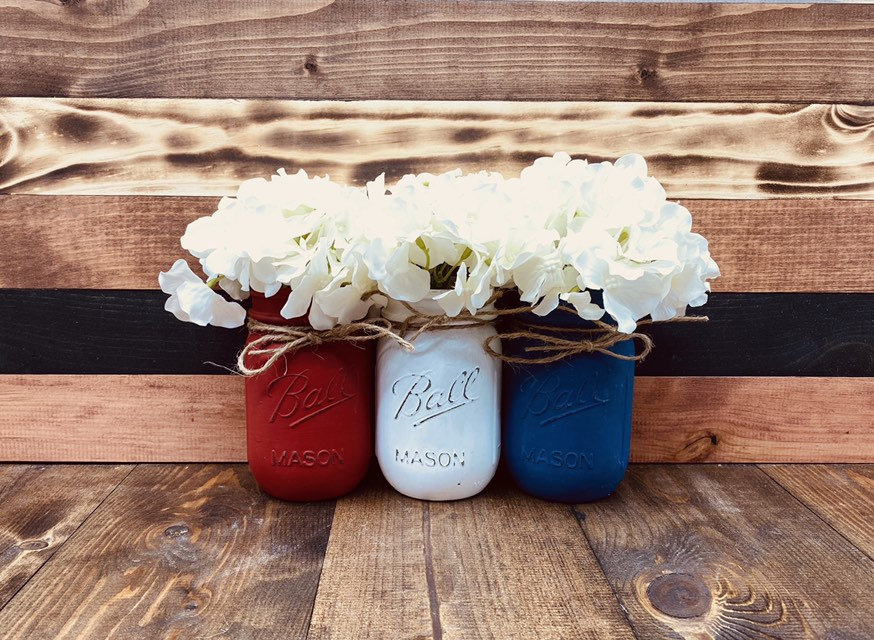Painted Mason Jars - Rustic Wedding Centerpieces Bulk Home Decor Custom Jar