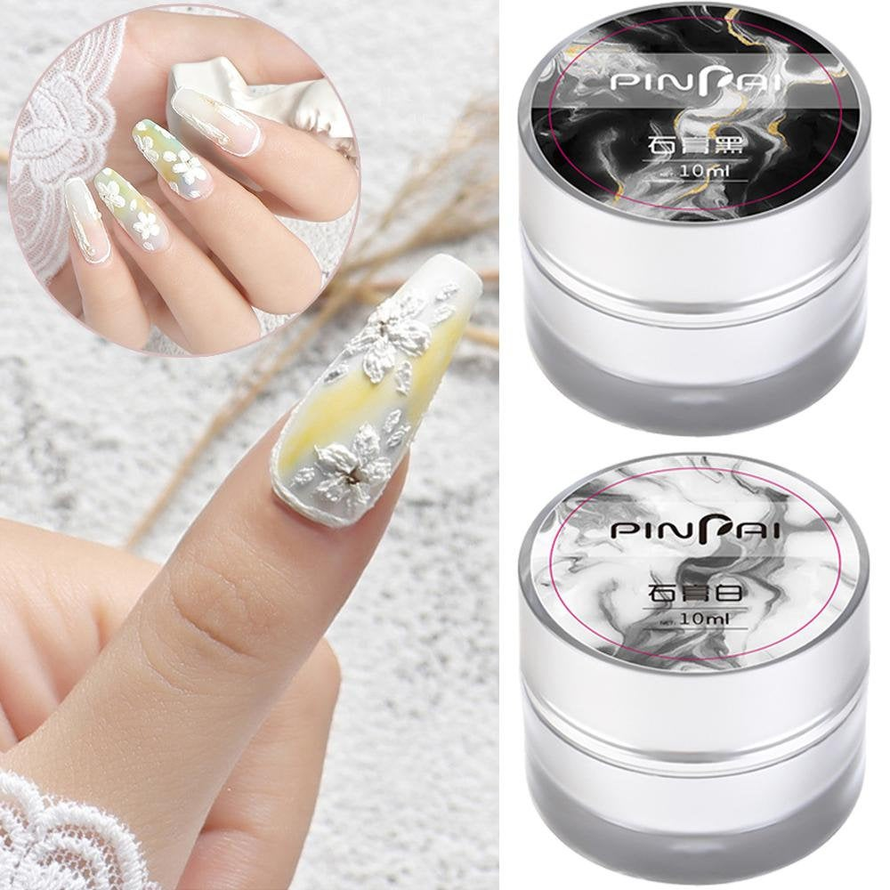 3D Painted Carving Gel Nail Art Plaster Glue Black & White Line Phototherapy Glue(7015-55
