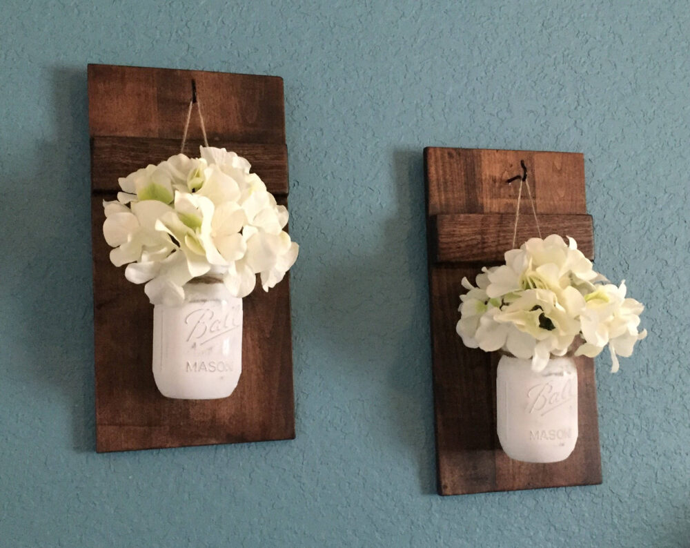 Set Of 2 Hand Painted Sconces, Mason Jar Wall Hangings, Decor, Home Rustic Gifts