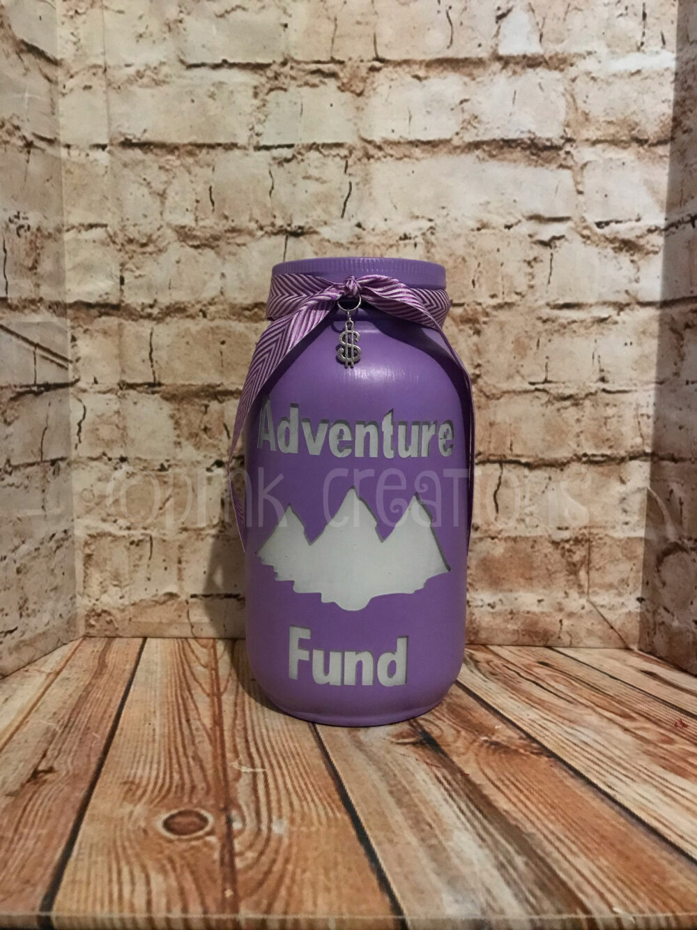 Adventure Fund Painted Mason Jar Bank, Adventure, Mountains, Bank, Piggy Painted Mason Jar, Gift, Jar Fund Bank