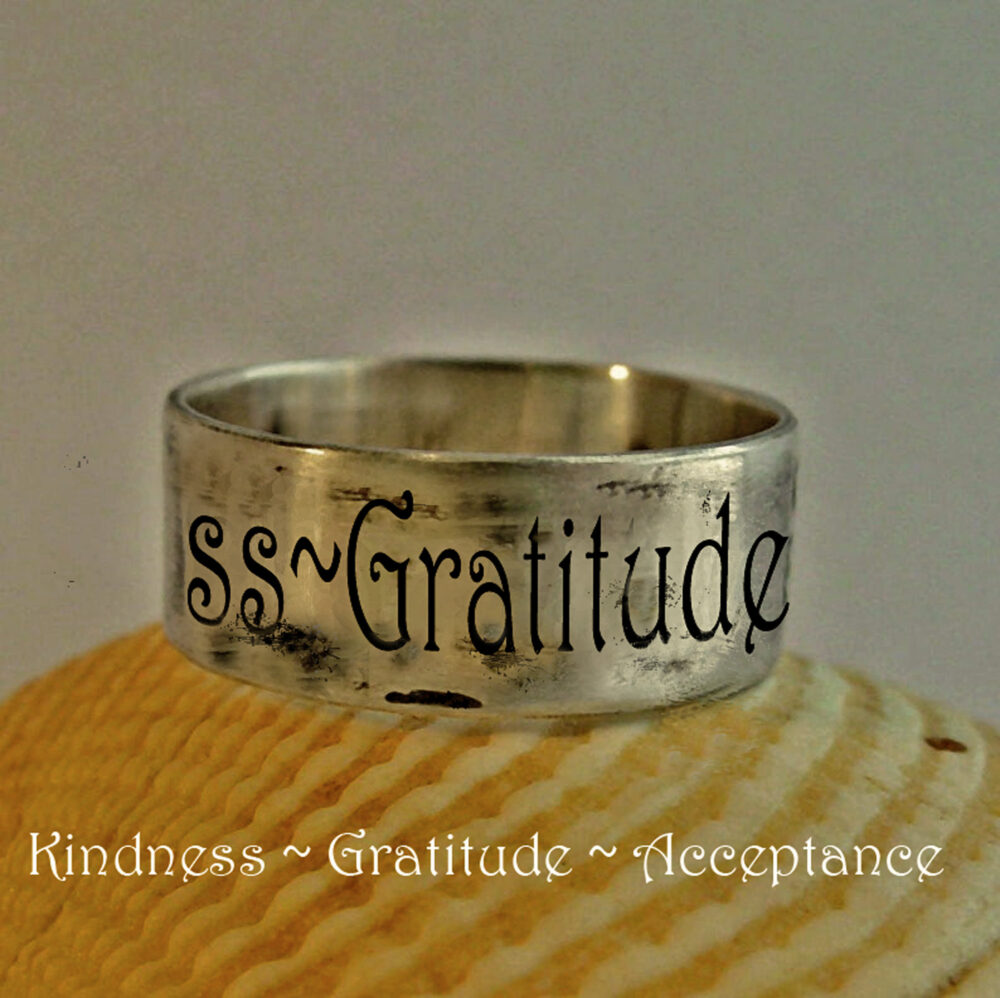 Kindness Acceptance Gratitude Ring, Personalized Quote Jewelry, Custom Engraved Ring, Band With Your Own Quote