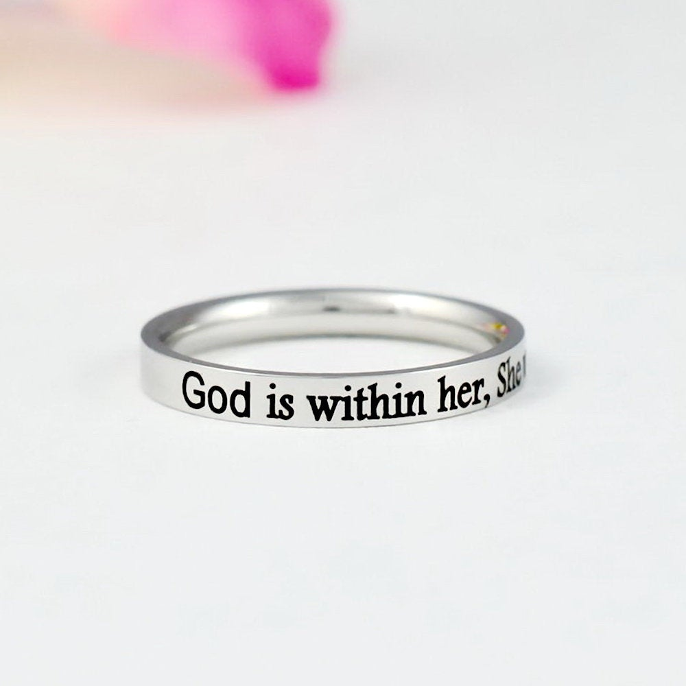 God Is Within Her, She Will Not Fall - Dainty Stainless Steel Stacking Band Ring, Christian Religious Gift, Scripture Bible Verse Psalm 465
