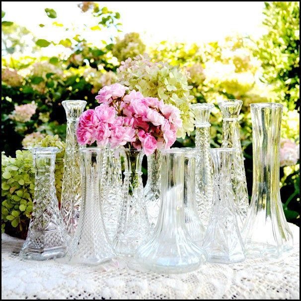 Vintage Wedding Bud Vase Collection Of Ten/Great Gatsby Clear Glass Sparkle & Shine Vases/ Vases