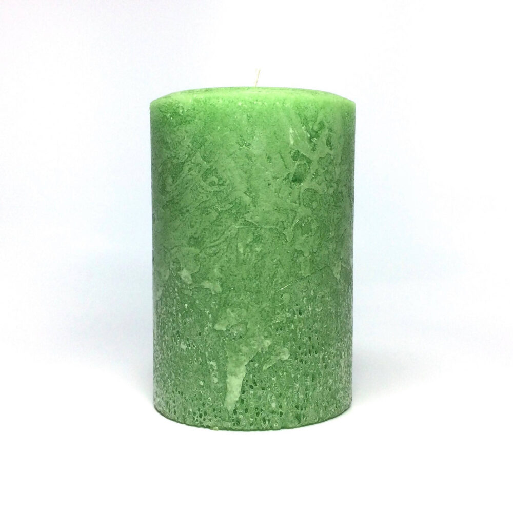 Light Green Rustic Unscented Pillar Candle - Choose Size Handmade