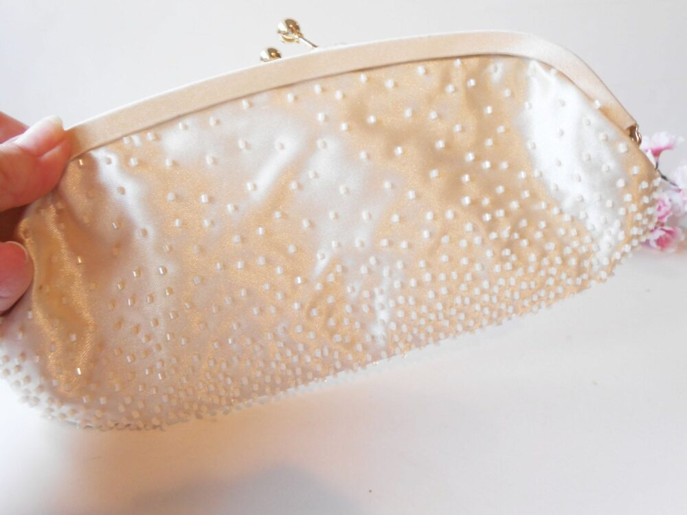 Creamy White Beaded Bag, Evening Vintage Cream Bead Wedding Bridal Handbag Eb-0502